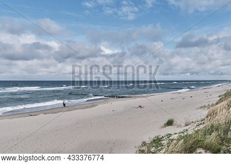 Beautiful Seascape With Waves, Sandy Beach And Cloudy Sky. Baltic Sea, Curonian Spit.