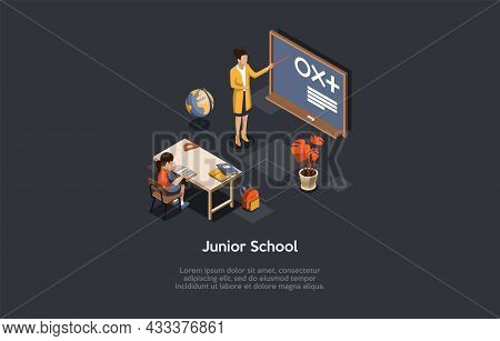 Vector Illustration. 3d Composition, Cartoon Style Isometric Design. Junior School. Two Characters.