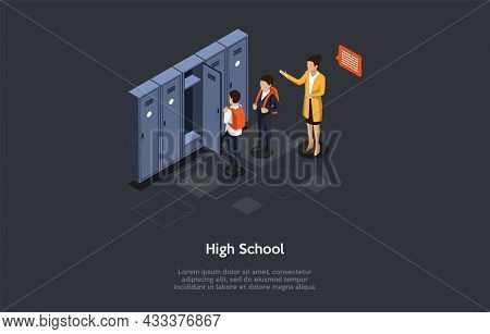 Vector Illustration. 3d Composition, Cartoon Style Isometric Design. High School, Group Of People. T