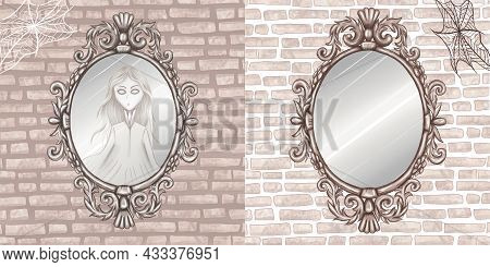 Spooky Antique Mirror Hanging On The Wall, Spider Net, Mysterious Creepy Ghost Woman Reflection, Hal