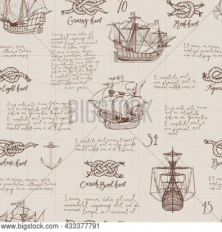 Vintage Seamless Pattern On The Theme Of Sea Travels And Adventures. Monochrome Vector Background Wi