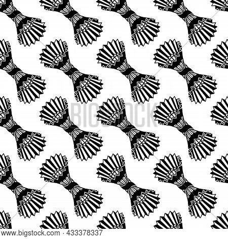 Shuttlecock Pattern Seamless Background Texture Repeat Wallpaper Geometric Vector