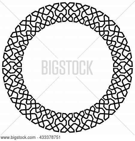 Ring With Greco And Roman Pattern On Isolated White Background.
