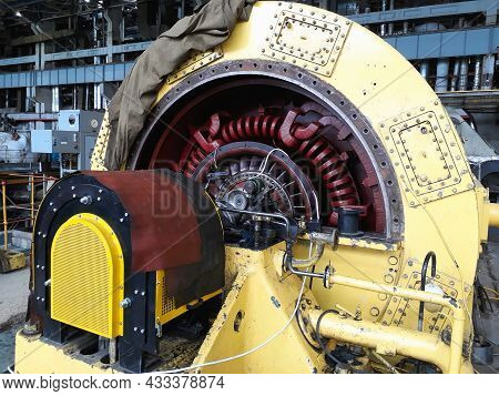 Electric Power Generator And Steam Turbine During Repair Process At Power Plant