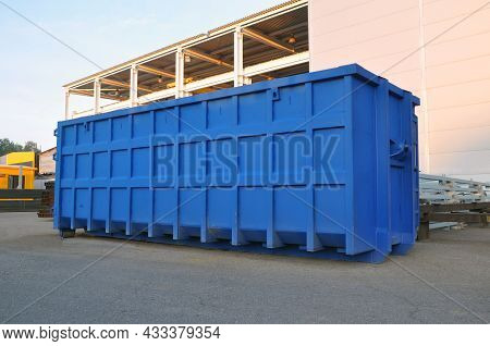 A Container For Collecting Scrap Metal For Recycling On The Territory Of A Production Plant. Blue Co