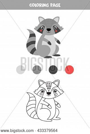 Coloring Page With Cute Gray Raccoon. Worksheet For Children.