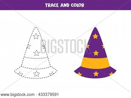 Trace And Color Halloween Wizard Hat. Educational Game For Kids. Writing And Coloring Practice.