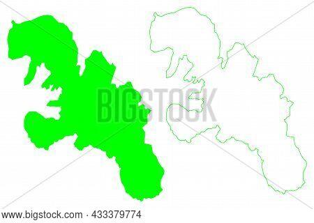 Ellef Ringnes Island (canada, North America, Canadian Arctic Archipelago) Map Vector Illustration, S