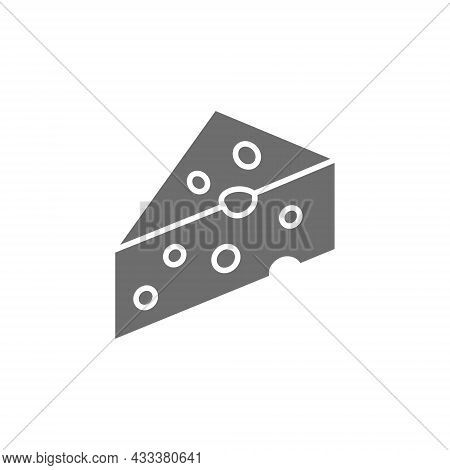 Piece Of Cheese With Holes, Delicacy Grey Icon.