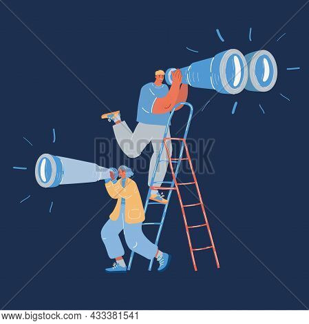 Vector Illustration Of Man And Woman Looking Through Binonculars And Spyglass In Different Direction