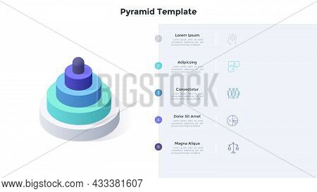 Pyramid Diagram Made Of 5 Cylindrical Layers. Concept Of Five Levels Of Business Project Progress. M