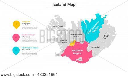 Iceland Map Divided Into Federal States. Territory Of Country With Regional Borders. Icelandic Admin