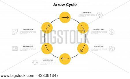 Cyclic Diagram With 6 Circular Elements And Arrows. Concept Of Six Steps Of Production Cycle. Modern