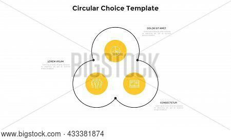 Flower Chart With Three Circular Elements. Concept Of 3 Options Of Business Project Development Stra