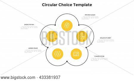 Flower Chart With Five Circular Elements. Concept Of 5 Options Of Business Project Development Strat