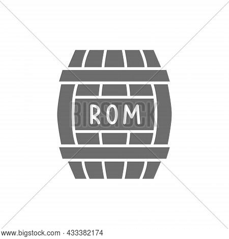 Barrel Of Rum, Alcohol, Drink Container, Wooden Keg Grey Icon.