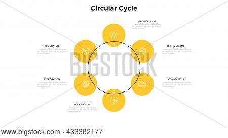 Cyclic Ring-like Diagram With 6 Round Elements. Concept Of Six Stages Of Business Development Cycle.