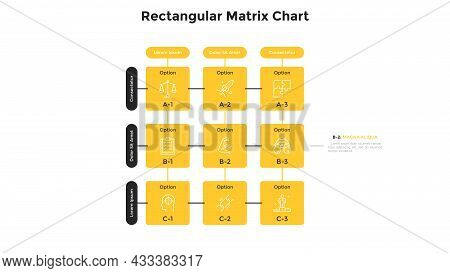 Matrix Diagram With 9 Square Cells With Letters And Numbers Arranged In Rows And Columns. Table With
