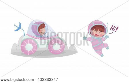 Little Kid Astronaut Wearing Spacesuit Exploring The Moon Driving Car And Greeting Vector Set