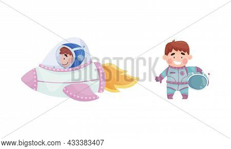 Little Boy Astronaut Wearing Spacesuit Exploring The Moon Flying With Spaceship And Smiling Vector S