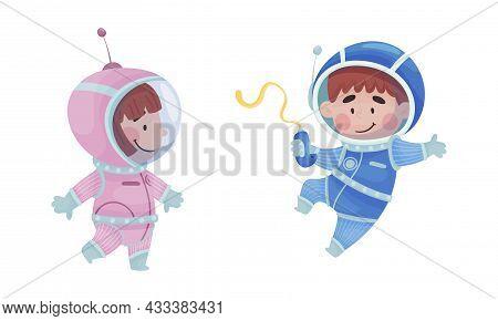 Little Kid Astronaut Wearing Spacesuit Floating Exploring The Moon Vector Set