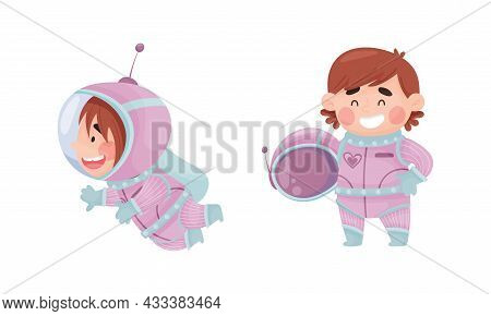 Little Girl Astronaut Wearing Spacesuit Exploring The Moon Vector Set