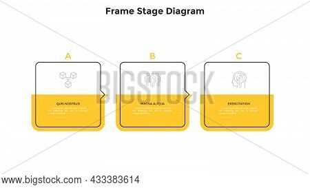 Three Square Frame Elements Placed In Horizontal Row And Connected By Pointers. Concept Of 3 Steps O