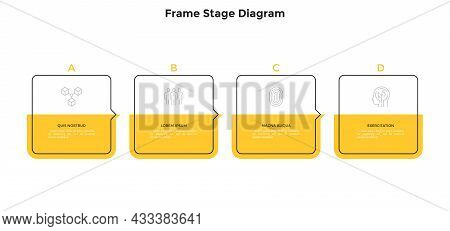 Four Square Frame Elements Placed In Horizontal Row And Connected By Pointers. Concept Of 4 Steps Of