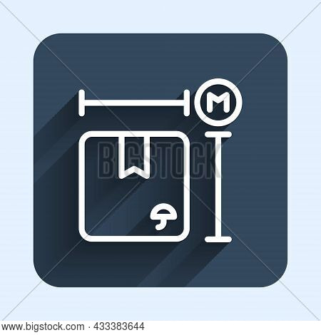 White Line Carton Cardboard Box Measurement Icon Isolated With Long Shadow Background. Box, Package,