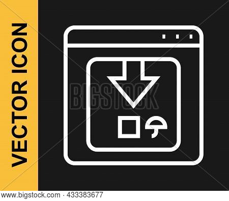White Line Online App Delivery Tracking Icon Isolated On Black Background. Parcel Tracking. Vector