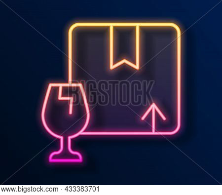 Glowing Neon Line Delivery Package Box With Fragile Content Symbol Of Broken Glass Icon Isolated On