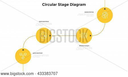 Flowchart With Four Circular Elements Connected By Curved Lines And Arrows. Concept Of 4 Successive