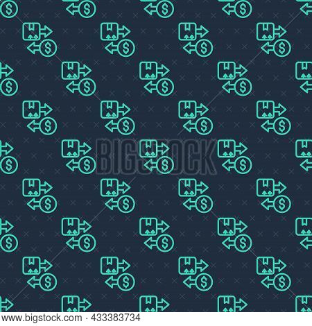 Green Line Tax Carton Cardboard Box Icon Isolated Seamless Pattern On Blue Background. Box, Package,