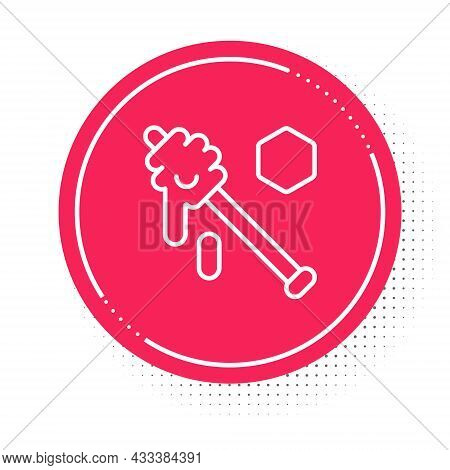 White Line Honey Dipper Stick Icon Isolated On White Background. Honey Ladle. Red Circle Button. Vec
