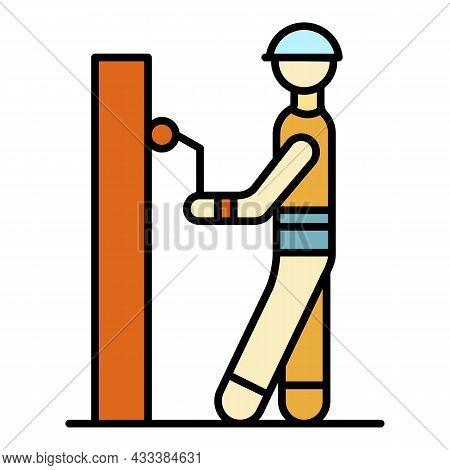 Masonry Worker Paint Wall Icon. Outline Masonry Worker Paint Wall Vector Icon Color Flat Isolated