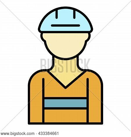 Build Worker Icon. Outline Build Worker Vector Icon Color Flat Isolated