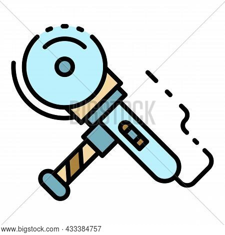 Cut Angle Grinder Icon. Outline Cut Angle Grinder Vector Icon Color Flat Isolated