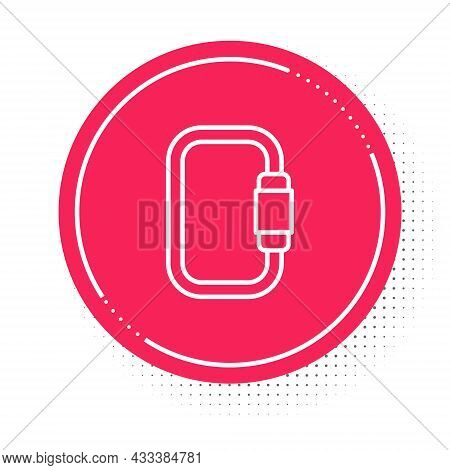White Line Carabiner Icon Isolated On White Background. Extreme Sport. Sport Equipment. Red Circle B
