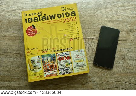 Bangkok Thailand September 19, 2021 : Thailand Yellow Pages Book Obsolete Method For Searching Telep