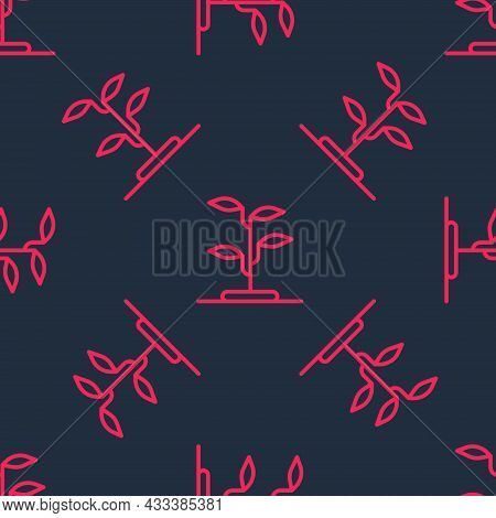 Red Line Sprout Icon Isolated Seamless Pattern On Black Background. Seed And Seedling. Leaves Sign.