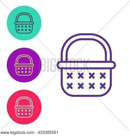Set Line Wicker Basket Icon Isolated On White Background. Set Icons Colorful. Vector