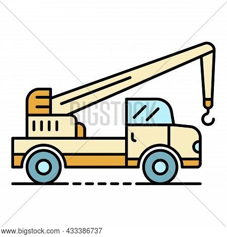 Truck Crane Icon. Outline Truck Crane Vector Icon Color Flat Isolated