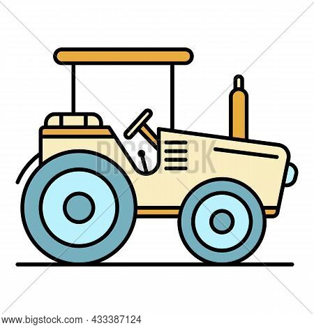 Modern Tractor Icon. Outline Modern Tractor Vector Icon Color Flat Isolated