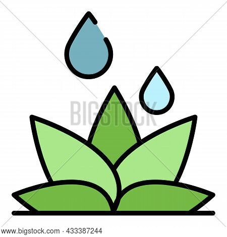 Flower Irrigation Icon. Outline Flower Irrigation Vector Icon Color Flat Isolated