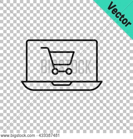 Black Line Shopping Cart On Screen Laptop Icon Isolated On Transparent Background. Concept E-commerc