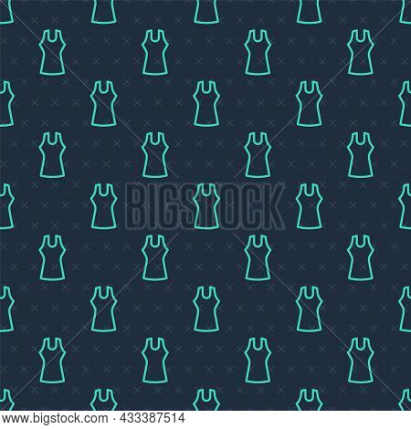 Green Line Woman Dress Icon Isolated Seamless Pattern On Blue Background. Clothes Sign. Vector