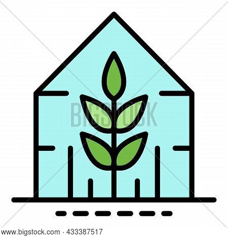 Plant Greenhouse Icon. Outline Plant Greenhouse Vector Icon Color Flat Isolated
