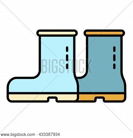Rubber Boots Icon. Outline Rubber Boots Vector Icon Color Flat Isolated