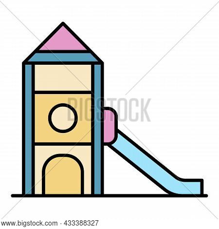 Kid Playground Icon. Outline Kid Playground Vector Icon Color Flat Isolated