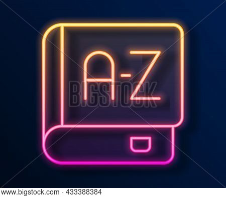 Glowing Neon Line Translator Book Icon Isolated On Black Background. Foreign Language Conversation I